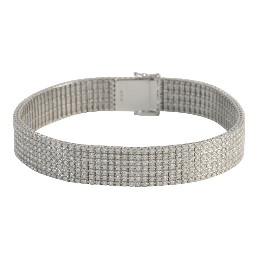 7964ffca76fc pulsera unito 7 filas en oro blanco con diamantes ct 4.75 med 18cm ...